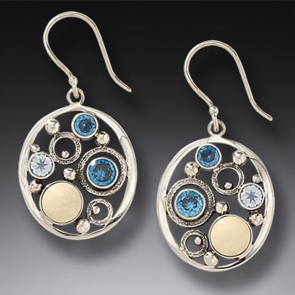 """Arctic Dreams"" Ancient Fossilized Mammoth Ivory Tusk, Blue Topaz and Rainbow Moonstone Silver Earrings"