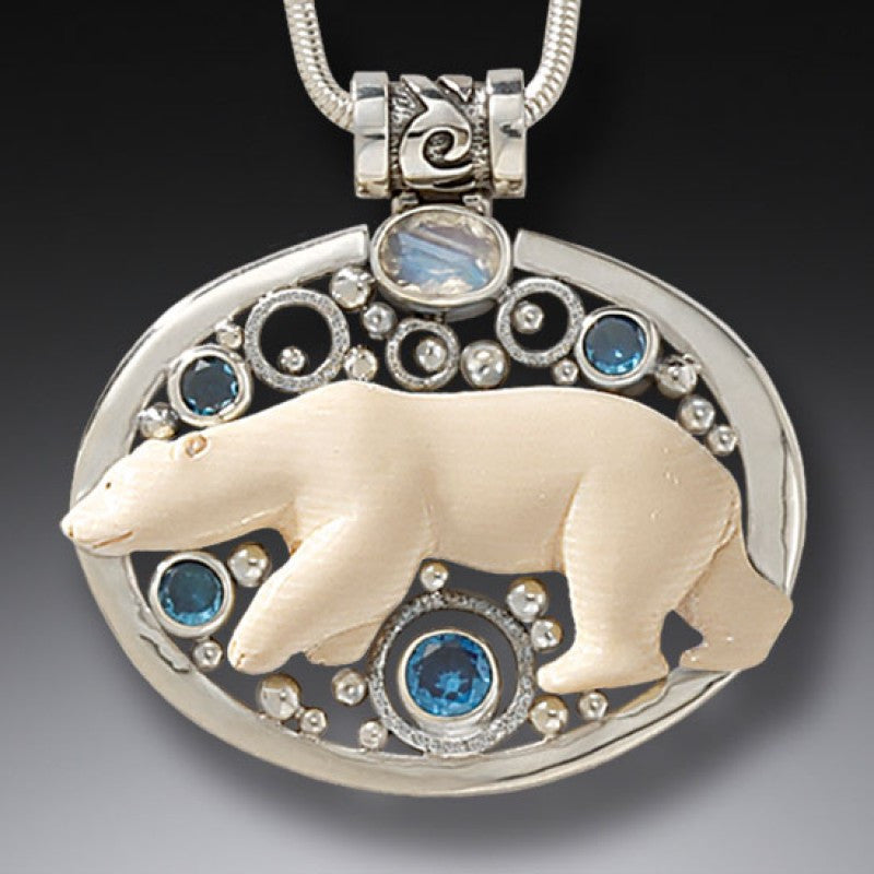"""Arctic Lights"" Ancient Fossilized Mammoth Ivory Tusk, Blue Topaz and Rainbow Moonstone Silver Pendant"