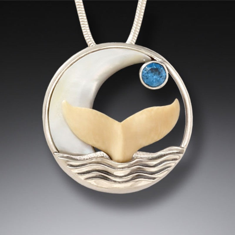 """Moonrise"" Ancient Fossilized Mammoth Tusk and Blue Topaz Sterling Silver Pendant"
