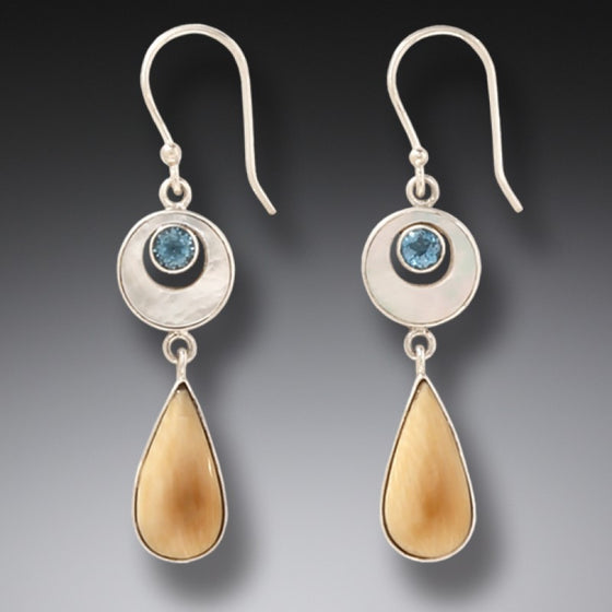 """Arctic Rain"" Ancient Mammoth Tusk Ivory and Blue Topaz Silver Earrings"