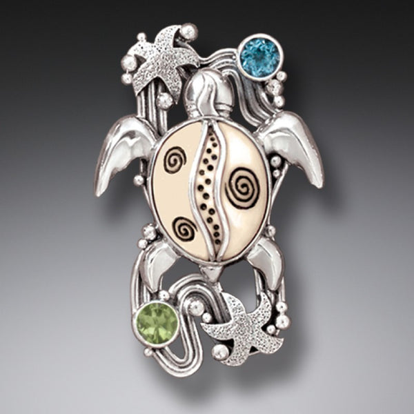 """On the Beach"" Ancient Fossilized Walrus Tusk Ivory, Peridot and Blue Topaz Silver Sea Turtle Pin or Pendant"