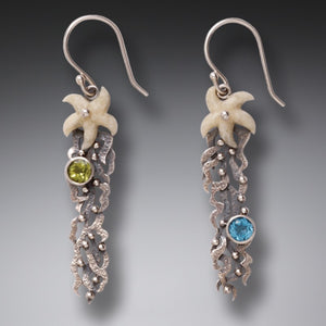 """Sea Garden"" Ancient Fossilized Walrus Tusk, Peridot, Blue Topaz and Sterling Silver Earrings"
