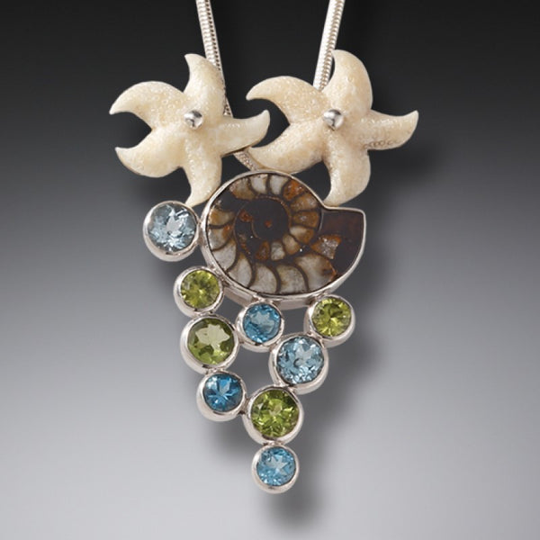 """Beachcombing"" Ancient Fossilized Walrus Tusk, Ammonite, Peridot, Blue Topaz and Sterling Silver"
