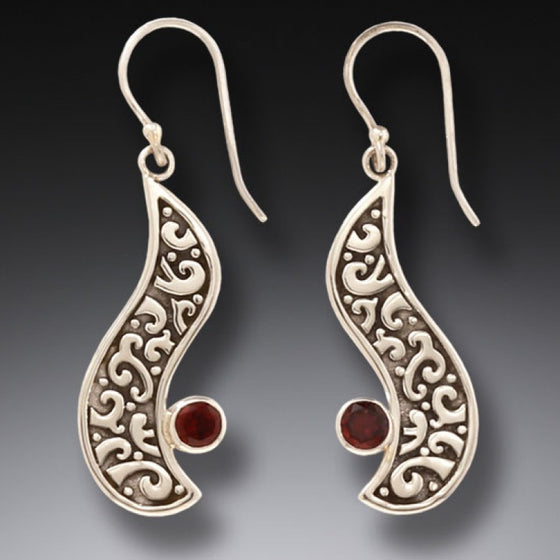 """Heart's Desire"" Garnet and Sterling Silver Earrings"