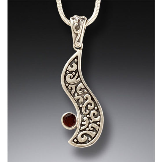 """Heart's Desire"" Ancient Mammoth Tusk and Garnet and Sterling Silver Pendant"