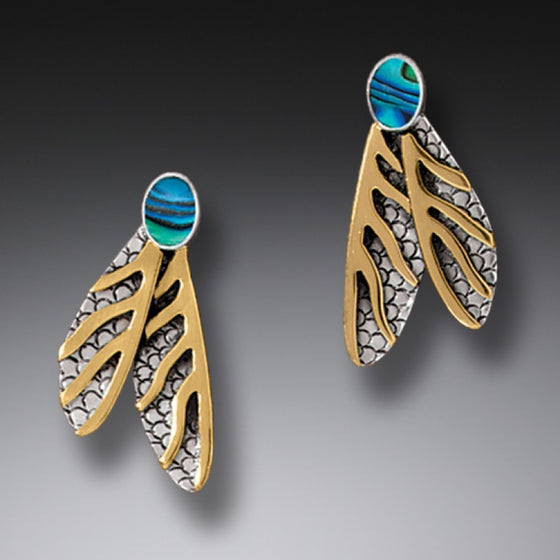 """Dragonfly Wing Earrings""  Paua, 14kt Gold Fill and Sterling Silver Earrings"