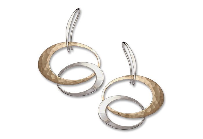 Ed Levin Sterling Silver and 14kt Gold Overlay Entwined Elegance Earrings