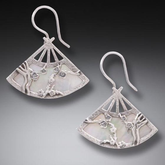 """Fan"" Mother of Pearl Handmade Geisha Silver Earrings"