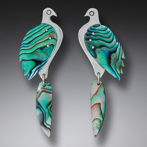 """Birds"" Paua Shell and Sterling Silver Earrings"