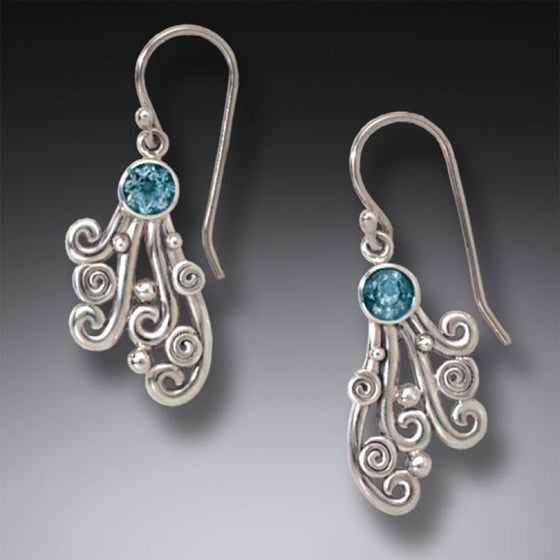 """Spray"" Sterling Silver Earrings with Blue Topaz Drop"