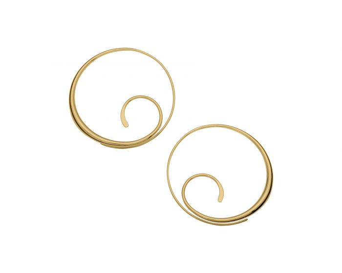 Gold Over Scrolling Hoop Earrings