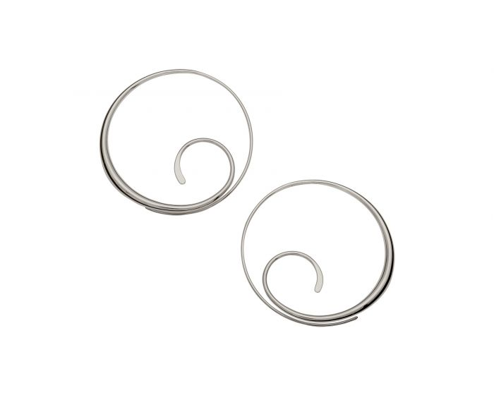 Ed Levin Sterling Silver Scrolling Hoop Earrings