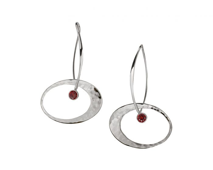 Ed Levin Silver Elliptical Elegance Gemstone Earrings