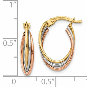 14kt Tri-Color Twisted Hoop Earrings