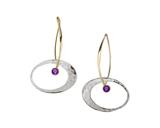 Ed Levin Sterling Silver and 14kt Gold Elliptical Elegance Gemstone Earrings