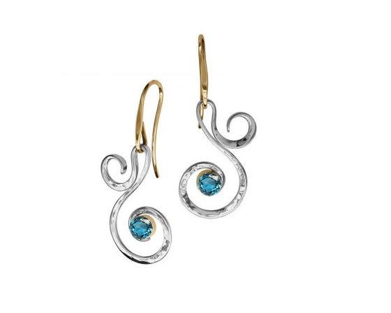 Ed Levin Sterling Silver and 14kt Gold Fiddlehead Gemstone Earrings