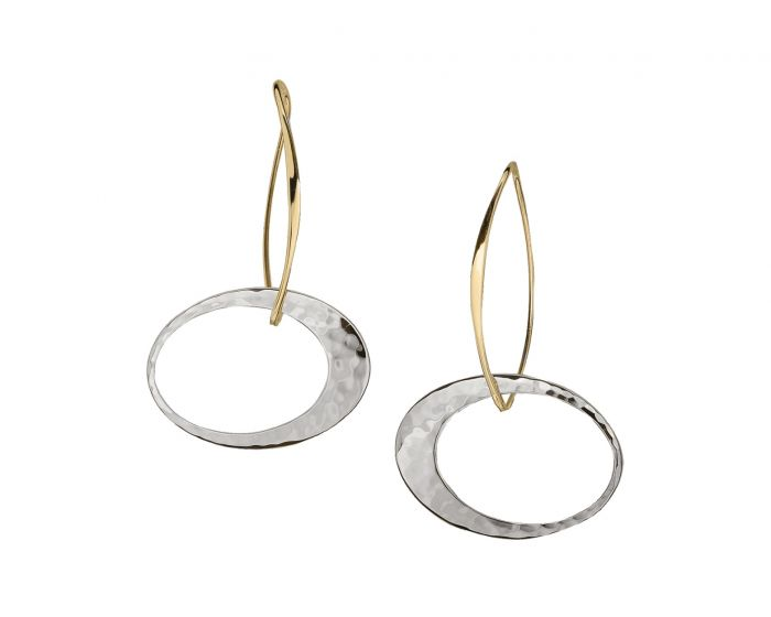 Ed Levin Sterling Silver and 14kt Gold Elliptical Elegance Earrings