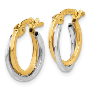 14kt Two-Tone Polished Hoop Earrings