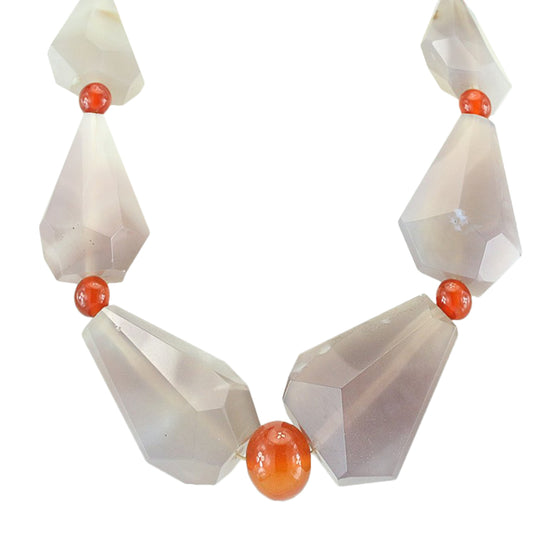 "Chalcedony and Carnelian 21.5"" Necklace"