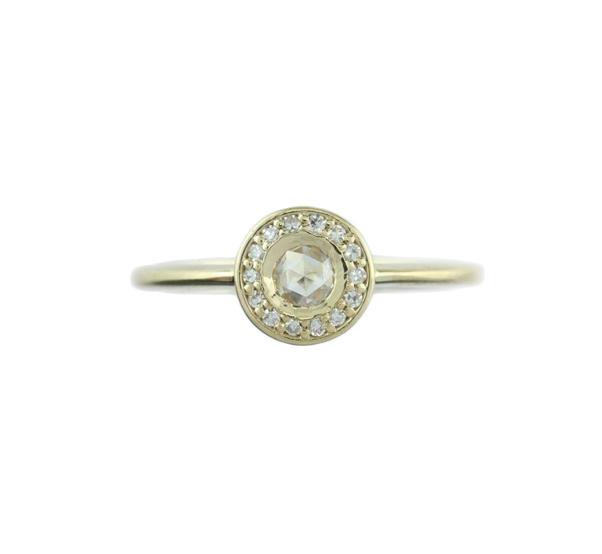 Diamond Rose Cut Halo 14KT Yellow Gold Ring