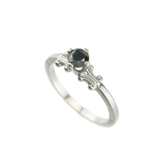 .47ct Black Diamond 14kt White Gold Solitaire