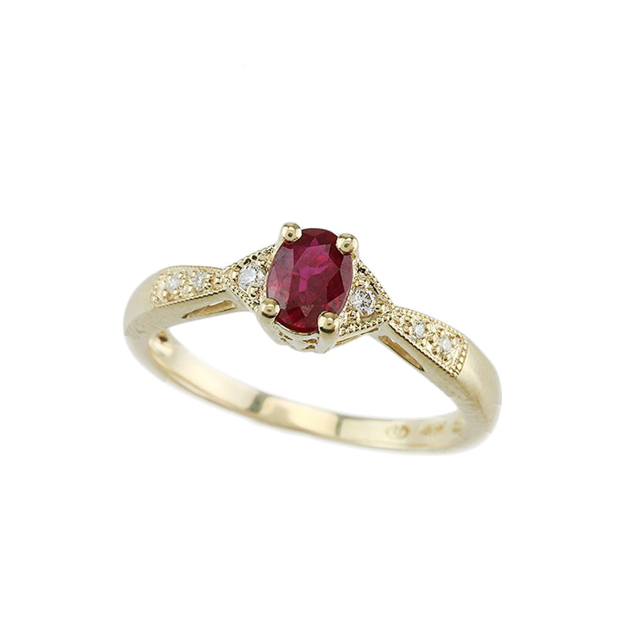 Ruby and Diamond 14kt Gold Ring