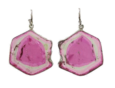 Watermelon Tourmaline Sterling Silver Slice Earrings