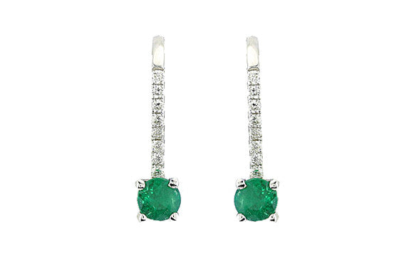 Emerald and Diamond 18kt White Gold Earrings
