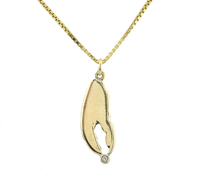 14kt Gold Lobster Claw With Diamond Pendant