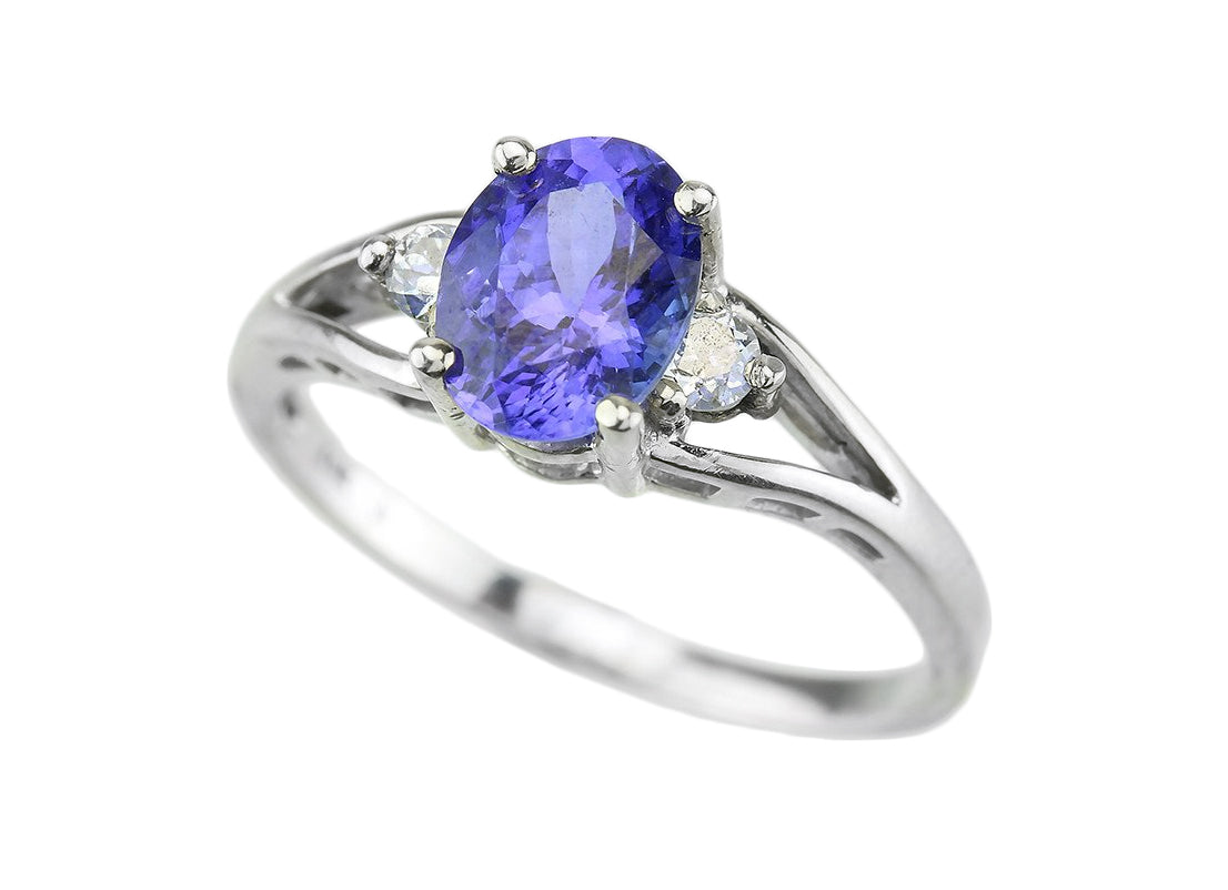 Tanzanite And Diamond 14kt White Gold Ring.