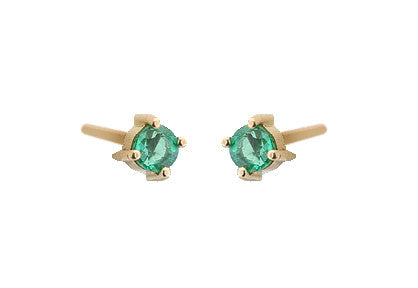 14KT Yellow Gold 3.5mm Emerald Post Earrings
