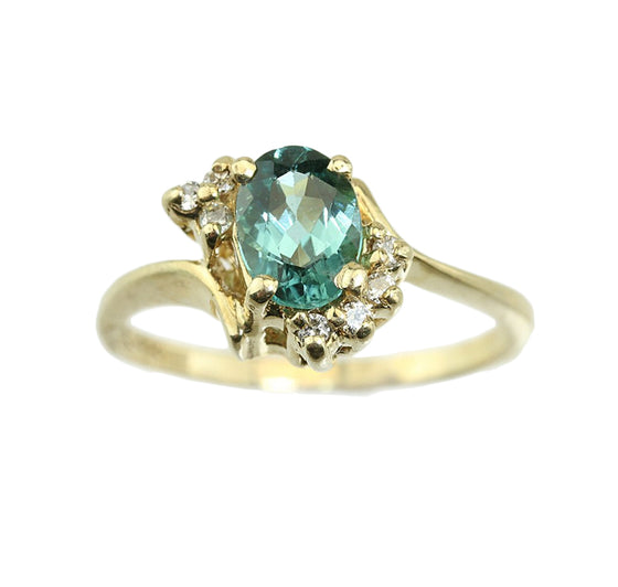 .80ct Green Tourmaline and Diamond 14kt Gold Ring