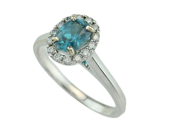 1.09CT Blue Zircon Diamond 14KT Ring
