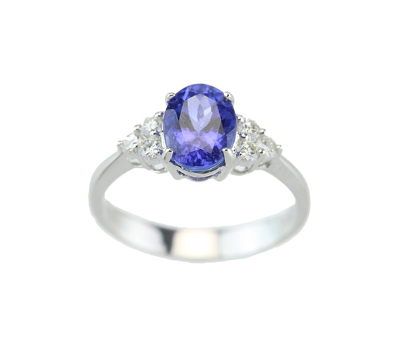 1.64 Carat Oval Tanzanite with Six Full Cut Diamonds 18kt White Gold Ring