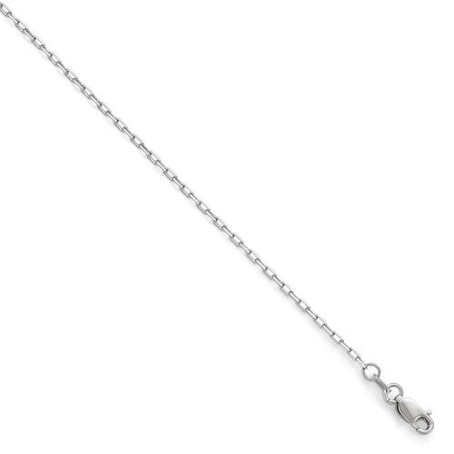 14kt White Gold 1.6mm Open Long Open Cable Link Chain