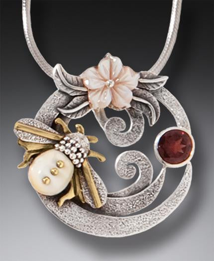 """Pollination"" Ancient Fossilized Mammoth Tusk Ivory, Garnet and Mother of Pearl Silver and 14kt Gold Fill Honeybee Pendant"
