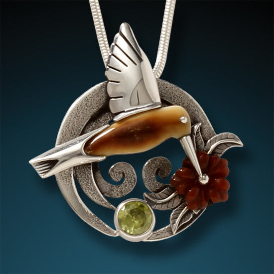 """Sipping Nectar"" Ancient Fossilized Walrus Tusk Ivory, Peridot and Carnelian Silver Hummingbird Pendant"