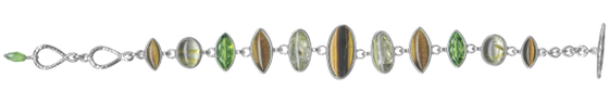 Peridot & Tigers Eye Sterling Silver Bracelet
