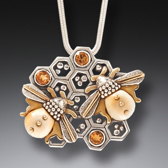 FOSSILIZED WALRUS IVORY AND SILVER BEE NECKLACE – HONEY HIVE