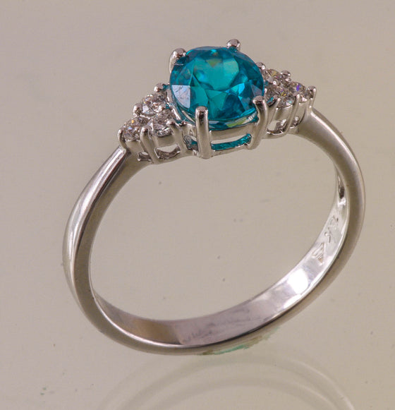 Blue zircon & diamond 18kt white gold ring