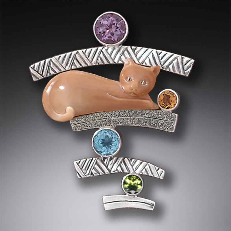 """Cat with Gems"" Ancient Fossilized Walrus Tusk Ivory, Amethyst, Citrine, Blue Topaz and Peridot Sterling Silver Pin or Pendant"