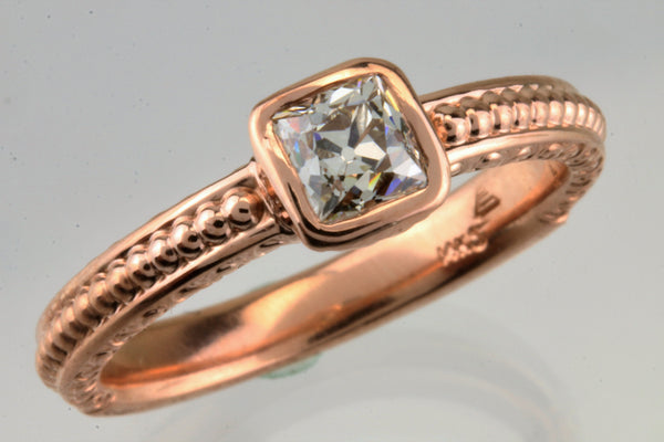 Antique Cushion Cut Diamond 14kt Rose Gold Ring