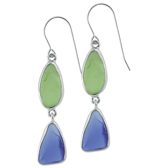 Blue and Green Seaglass Sterling Silver Earrings