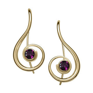 Ed Levin 14kt Gold Lyrical Gemstone Earrings