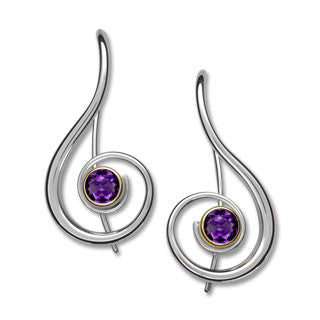 Silver and 14kt Gold Lyrical Gemstone Earrings