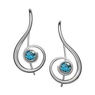 Ed Levin Sterling Silver Lyrical Gemstone Earrings