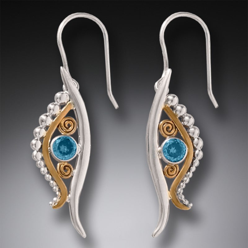 """Eye of Horus"" Blue Topaz and 14kt Gold Fill Sterling Silver Earrings"