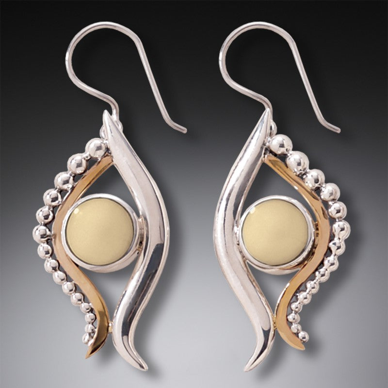 """Eye of Horus"" Ancient Walrus Ivory Tusk Silver Earrings"