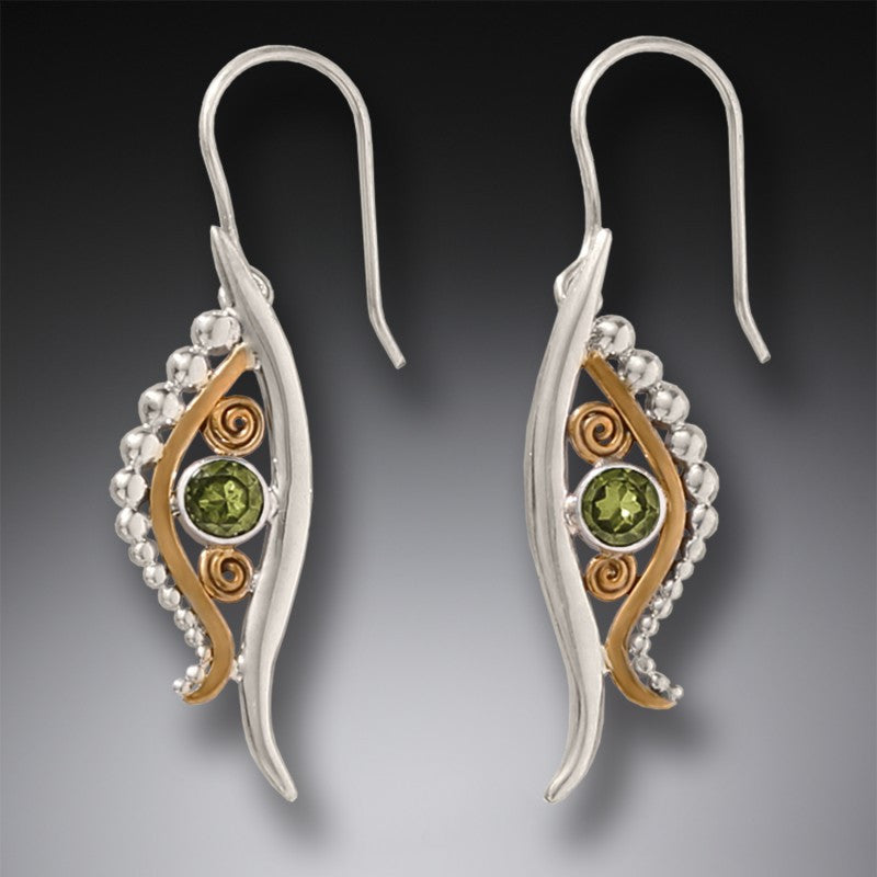 """Eye of Horus"" Peridot 14KT Gold Fill and Sterling Silver Earrings"