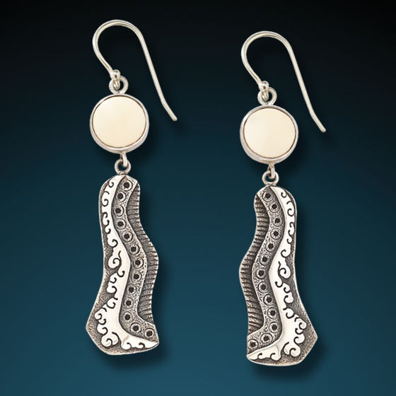 """SUNRISE"" MAMMOTH IVORY HANDMADE SILVER EARRINGS"